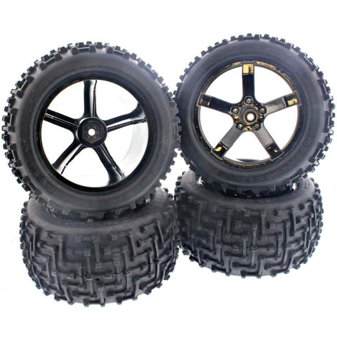 HPI 1/10 Bullet MT ST Flux * AMMUNITION MT TIRES & 5 SPOKE WHEELS * 14mm HEX