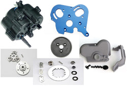 TRAXXAS E-MAXX BRUSHED TRANSMISSION, COMES WITH SPUR GEAR AND SLIPPER CLUTCH,BLUE ALUMINUM MOTOR MOUNT PLATE, DUST COVER, AND PRESSURE PLATE. COMES READY TO INSTALL AS SOON AS YOU OPEN YOUR BOX.