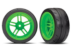 "Traxxas 8374G Assembled Green Split-Spoke Wheels with 1.9"" Response Tires (Rear)"