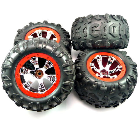 Traxxas 1/16 Mini Summit VXL * FRONT & REAR CANYON TIRES & RED BEADLOCK WHEELS *