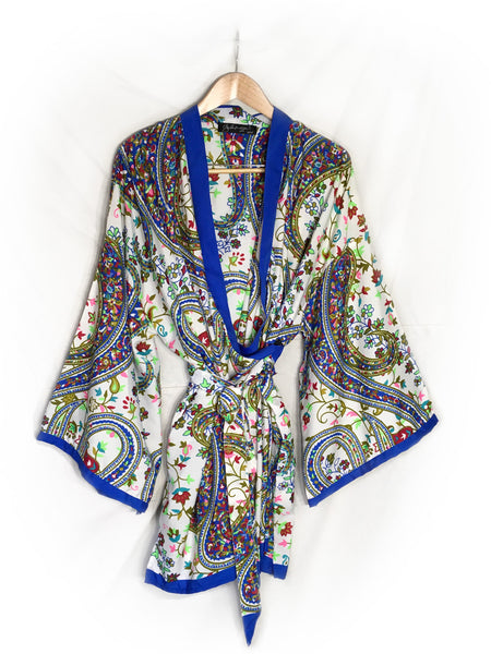 breast cancer clothing_blue paisley_robe