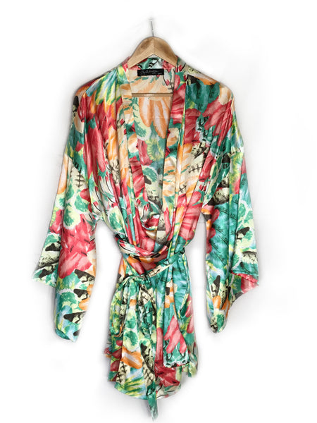 breast cancer clothing_green floral_robe