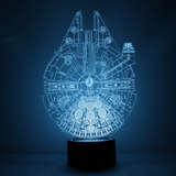 Lampara Efecto 3D Led - Star Wars Millennium Falcon