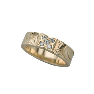 Clover Ring 6mm Yellow Gold