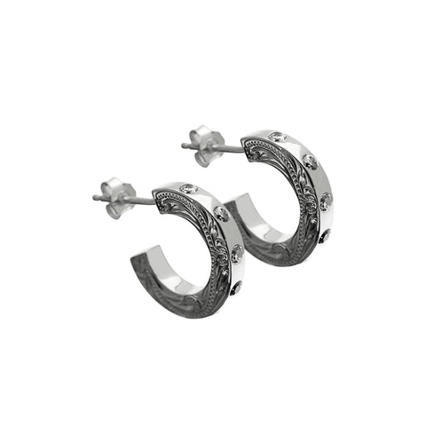 Hoop Earrings+CZ Silver