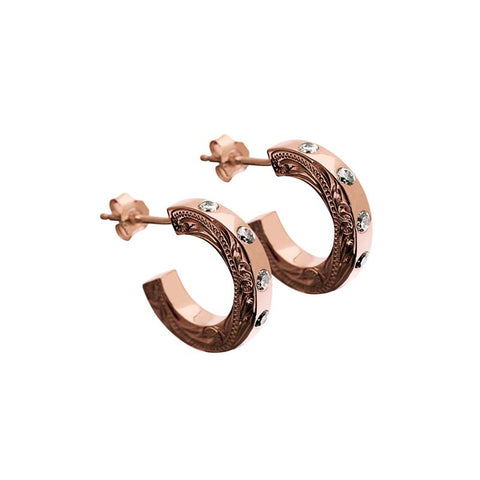Hoop Earrings+CZ Rose Gold
