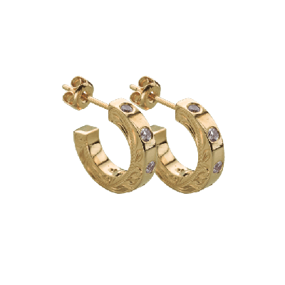 Hoop Earrings+CZ Yellow Gold