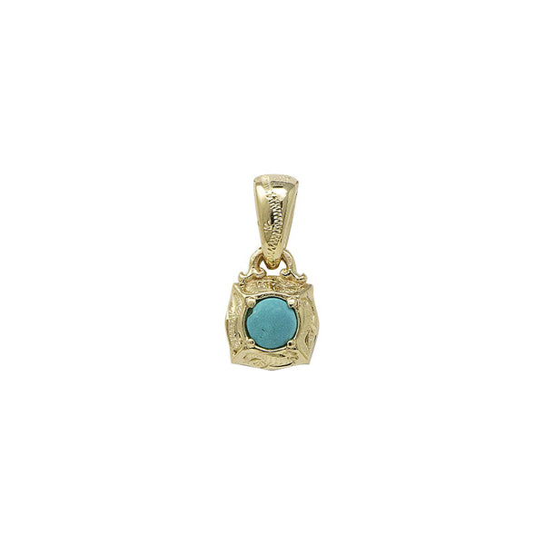 Turquoise Pendant Small Yellow Gold