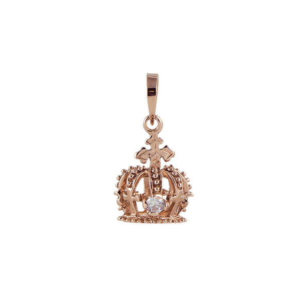 Crown Pendant + CZ Pink Gold*SALE*