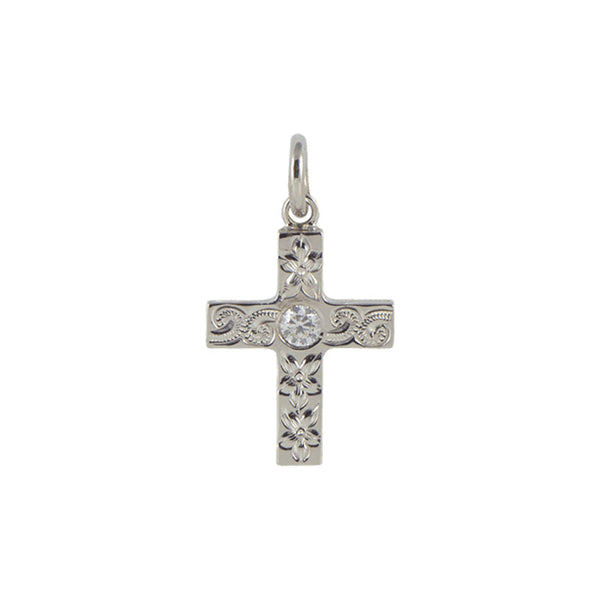 Cross Pendant+CZ WHITE GOLD*SALE*
