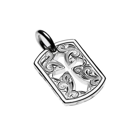 Square Cross Pendant White Gold