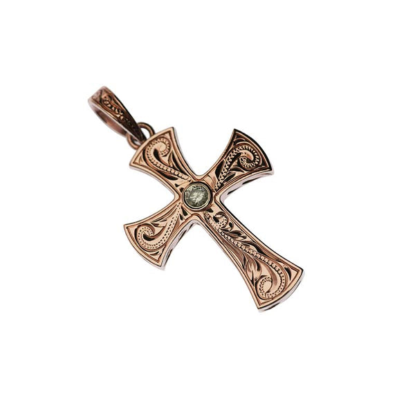 Scroll Cross Pendant + Dia  Rose Gold