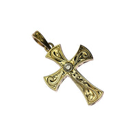 Scroll Cross Pendant + Dia  Yellow Gold