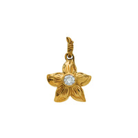 Plumeria+Cubic zirconia pendant Yellow Gold*SALE*