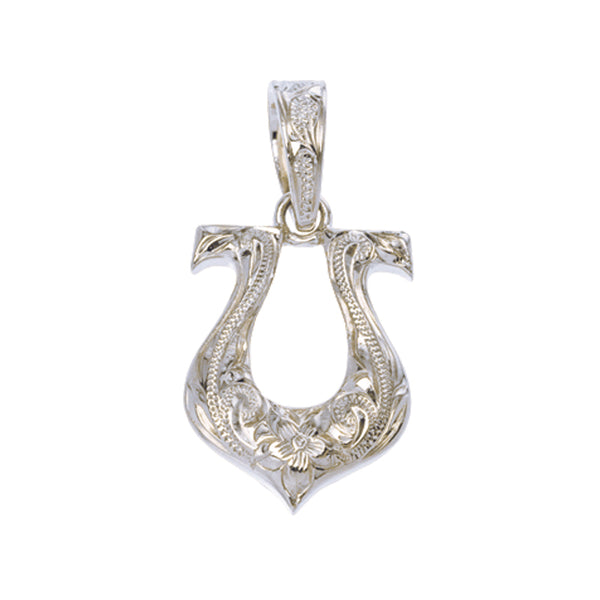 Horseshoe Pendant White Gold Barrel