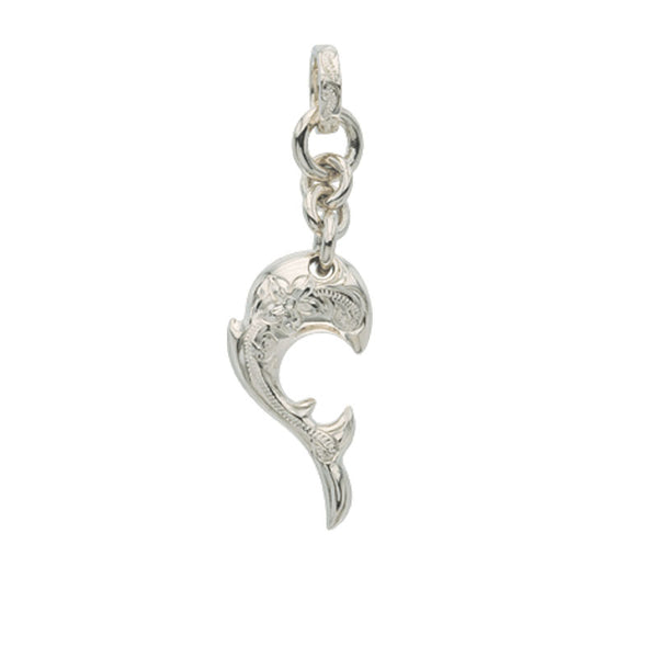 Dolphin Wave Pendant Small White Gold
