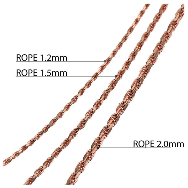 Rope Chain Pink Gold 1.2mm