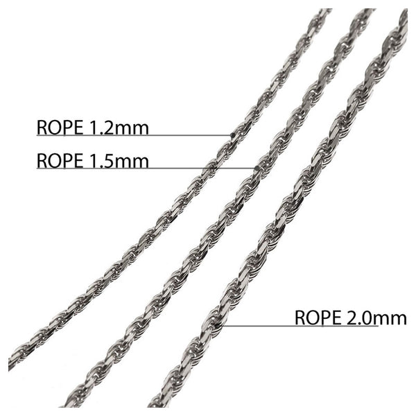Rope Chain White Gold 1.5mm