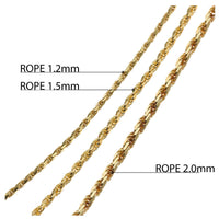 Rope Chain Yellow Gold 1.5mm