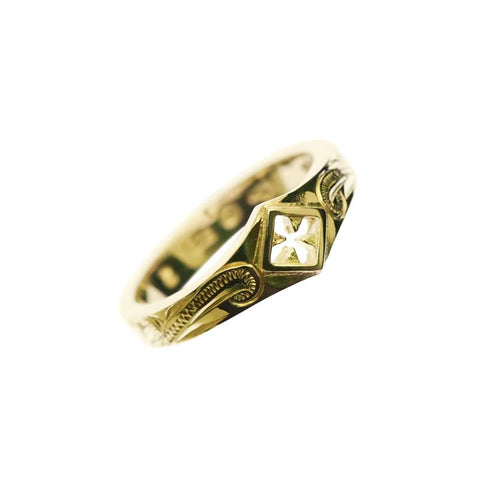 Cross Pinky Ring Yellow Gold