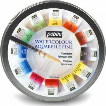Pébéo Watercolour Round Metal Box includes half pans, brush and pallet in a pocket-sized plastic shell. 12 Half Pans 24 Half Pans