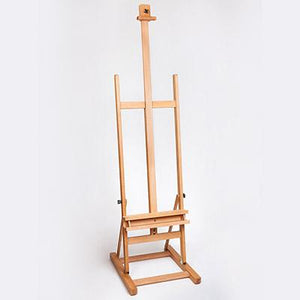 Easel-H-frame with Metal Ratchet is a heavy-duty easel on castors and holds canvases up to 140cm.