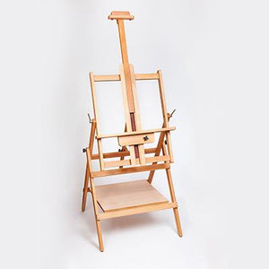 A very versatile two-position multi-task easel with a lower storage shelf to hold additional art materials, such as watercolour palettes, powdered pigments and sponges, brushes and art tools, in a flat position.