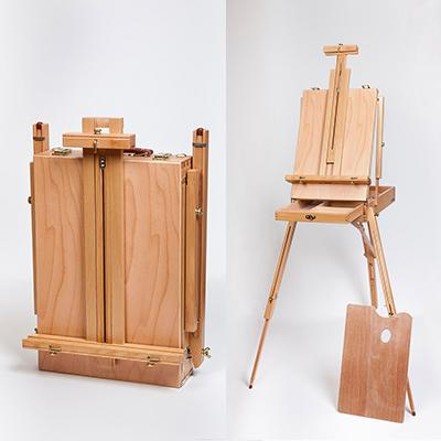 The French box easel folds up into a small carry box with extendable triangular legs.
