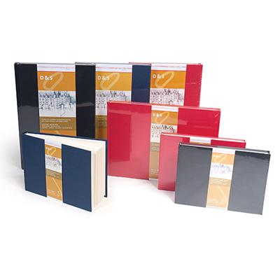 Hard-cover, hand bound flat lay journals for drawing and sketching in charcoal and pencil.
