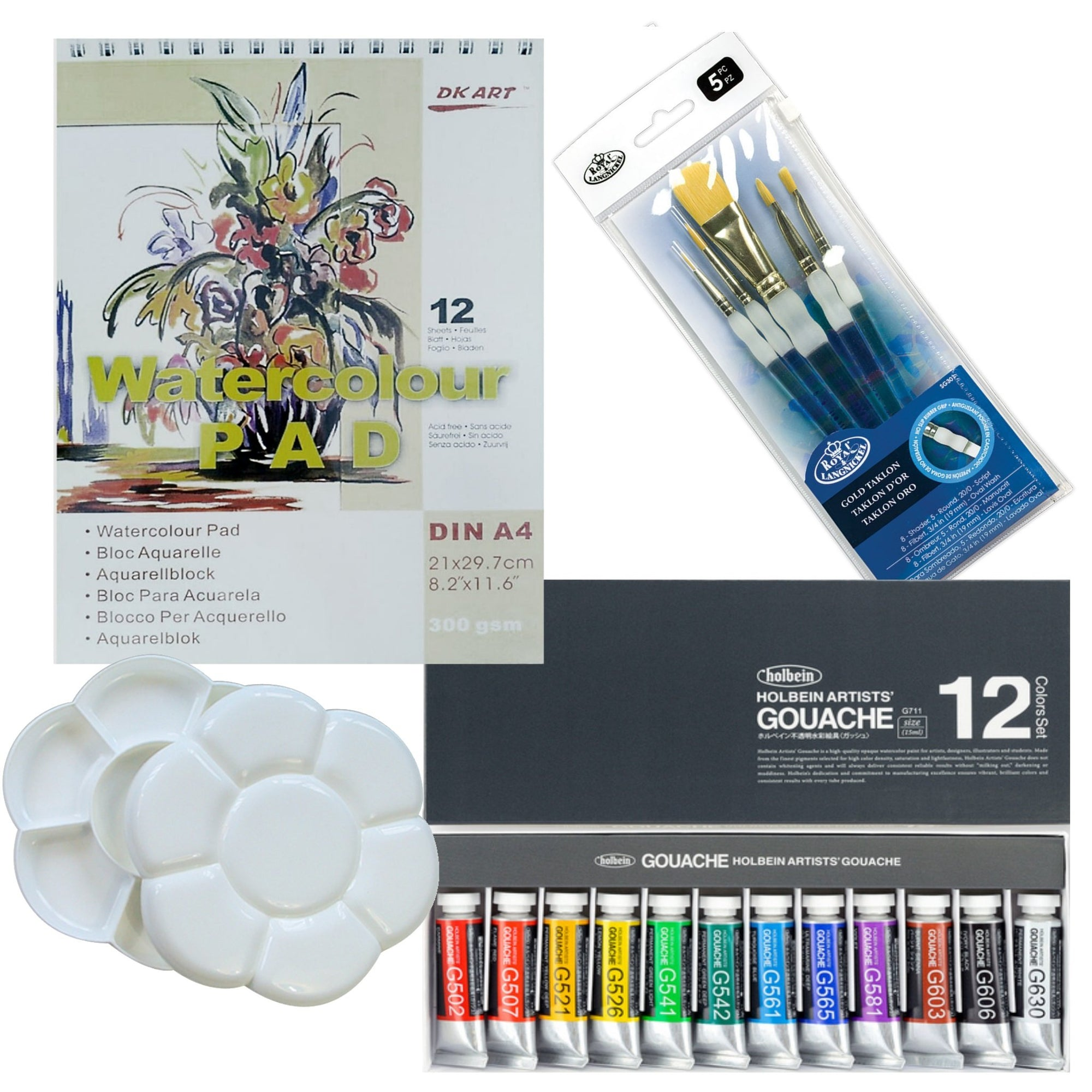 This beautiful set of Holbein Artist Designer Gouache includes everything you require to start painting:  12 x 5ml paint tubes Set of 5 brushes #8 flat, 3/4 & #8 filbert, round 20/0 & #5 1x Double-sided Flower Shaped Plastic Palette - clicks together for easy transport 1x A4 Watercolour Pad - 300gsm wire bound, made from 100% wood pulp.