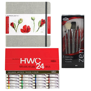 This set includes:  1x Holbein Watercolour Set - 24 x 5ml tubes 1x Hand Book Journal Co - Linen covered watercolour journal 21 x 21cm 1x Zen Watercolour Brush Set - 5 brushes