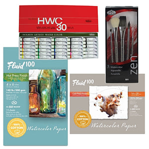 "This set includes:  1x Holbein Watercolour Set - 30 x 5ml tubes 1x Fluid 100 Watercolor Paper - 5 Sheets 300g CP 16"" x 20"" (406.4 x 508mm) 1x Fluid 100 Watercolour - 15 Sheet HP Block 9"" x 12"" (228.6 x 304.8mm) 1x Zen Watercolour Brush Set 832, sizes:"