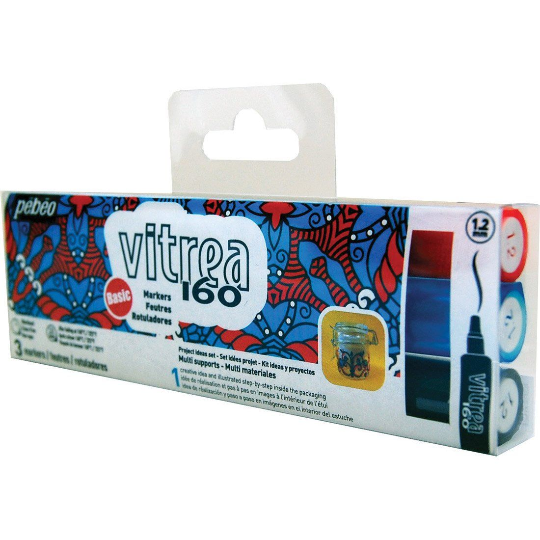 Pébéo Vitrea 160 Marker Set 3 glossy bullet markers - Ink Black, Turquoise, Pepper Red & Project ideas.