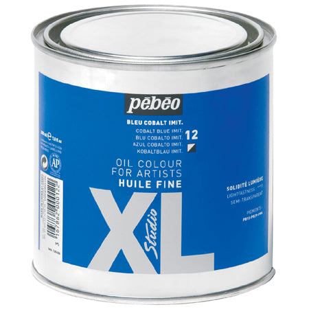 Pébéo XL Fine Huile Phthalo Blue 650ml tin. Pébéo XL oil is suitable for all techniques, from glazes to thick layers and can be used in conjunction with many mediums.