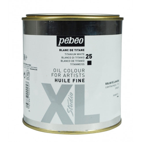 Pébéo XL Fine Huile Titanium White 650ml tin. Pébéo XL oil is suitable for all techniques, from glazes to thick layers and can be used in conjunction with many mediums.