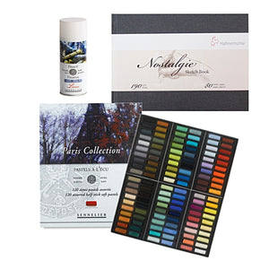 This set includes:  1x Sennelier Half Pastel Set of 120 'Paris Collection' 1x Hahnemuhle Nostalgie Sketch Book - A4 Landscape 1x Sennelier Soft Pastel Fixative - Latour - 400ml Aerosol Can