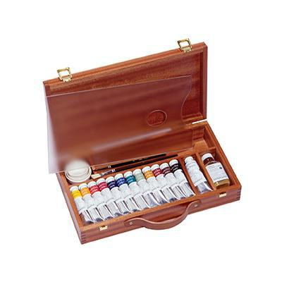 Sennelier Wooden-boxed sets of 12 x 21ml tubes, plus 1 x 34ml white tube  Egg tempera is a semi-opaque water soluble and permanent painting medium wonderful for fine art painting.  It is perfect for oil painters who need a highly pigmented, fine art colour alternative to oil painting and its solvents.