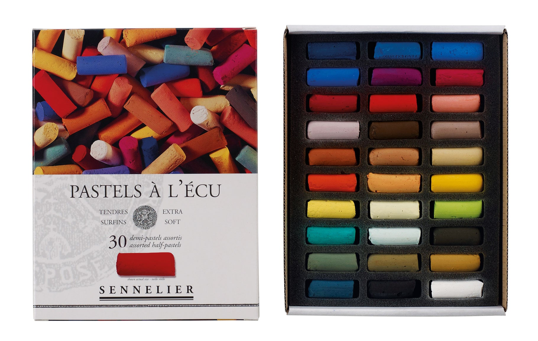 Sennelier Landscape 30 Half Pastels are the finest artists' soft pastels available.  Cardboard boxed sets of 30 half soft pastels.