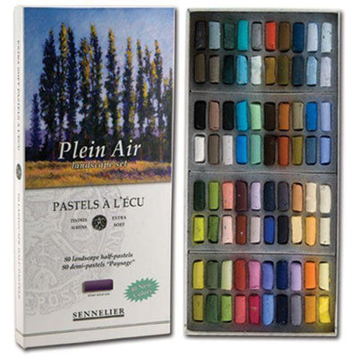 These boxed sets of 80 half sizes extra Soft Pastels have been selected for a landscape style colour range