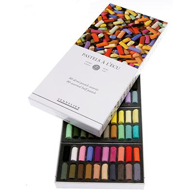 Sennelier boxed set of 80 extra soft pastels in half sticks.