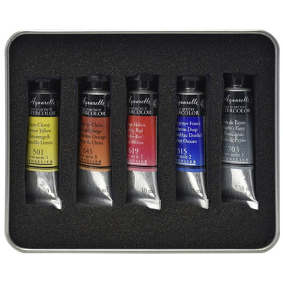 The set includes:  1x Sennelier L'Aquarelle Test Pack - 5 tubes of 10ml 1x Hahnemuhle Watercolour Book A5 landscape 1x Raphael Brush Set with 5 brushes