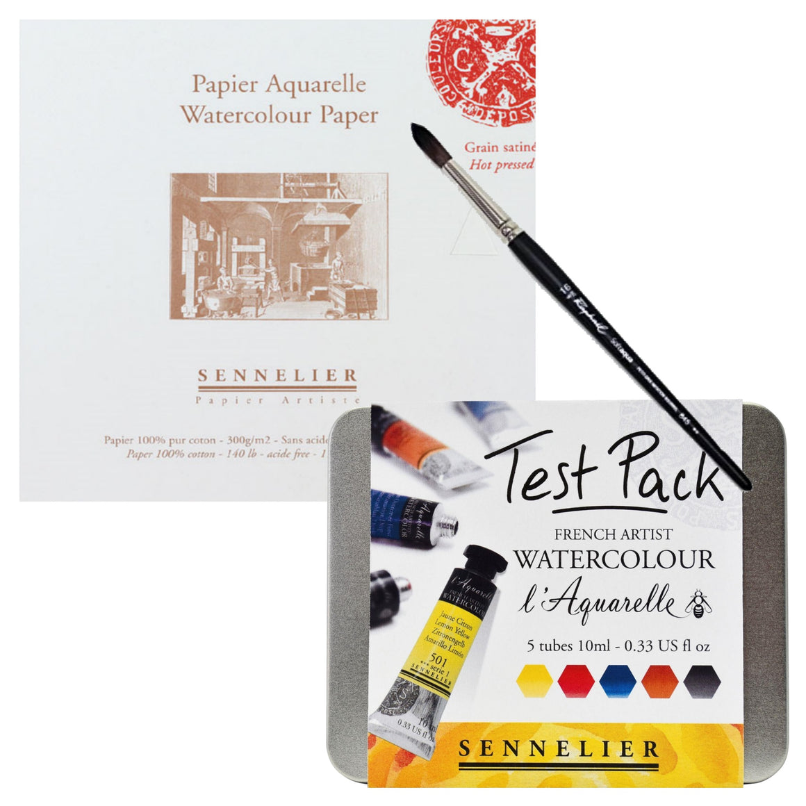 1x Sennelier L'Aquarelle Test Pack - 5 tubes of 10ml 1x Sennelier Watercolour Block - 10 x 15cm 1x Raphael Round Brush - 16