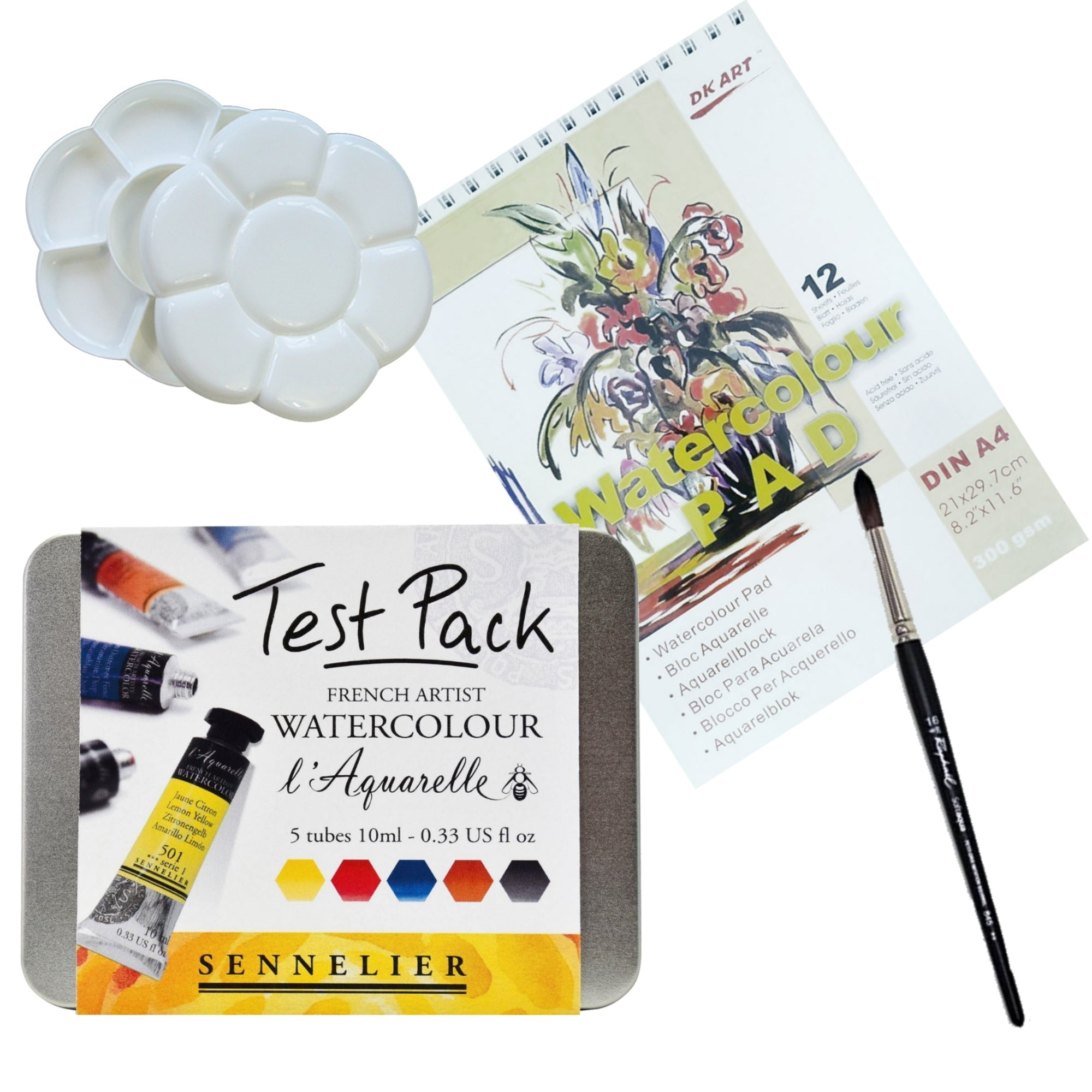 You don't need any art training just this set and a willingness to start a new art adventure. Live inspired every day!  The set includes:  1x Sennelier L'Aquarelle Test Pack - 5 tubes of 10ml 1x Watercolour pad 300gsm x 12 Sheets 1x Raphael Round Brush - 16 1x Double-sided Flower Shaped Plastic Palette - clicks together for easy transport