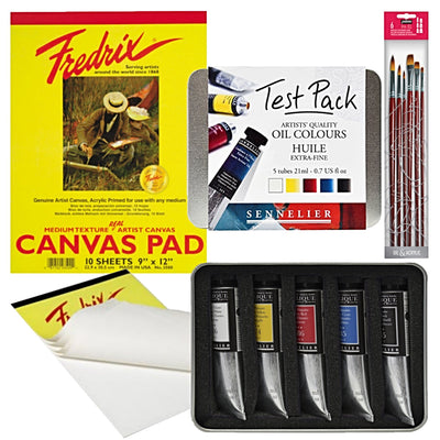 "1x Sennelier Oil Test Pack 5 x 21ml tubes 1x Fredrix White Canvas Pad 12"" x 16"" - 10 Sheets 1x Pébéo Brush Set"