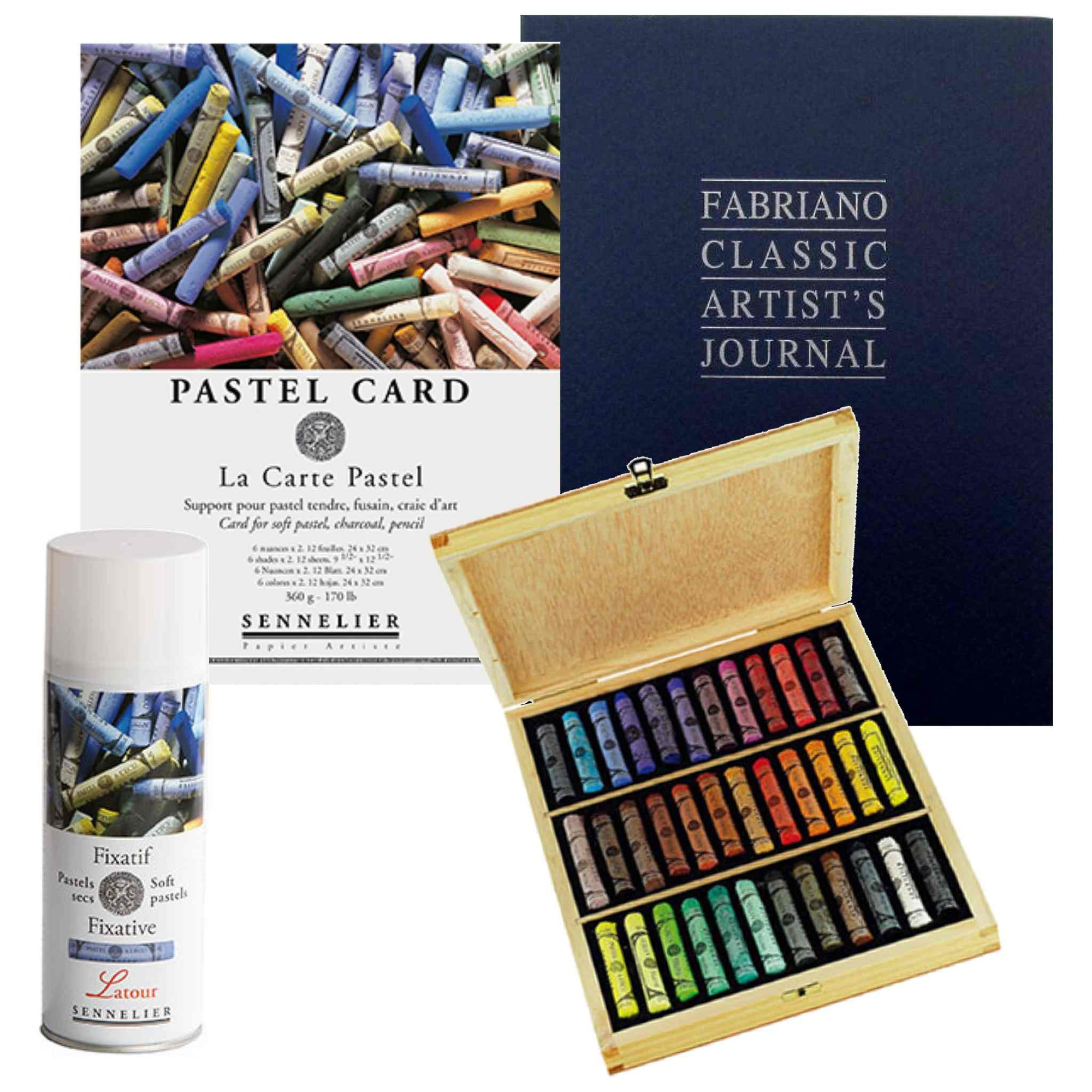 Art Bundle Set 1 x Sennelier boxed set of 36 extra soft pastels 1x Fabriano Classic Journal 16 x 21cm with 192 Sheets 1x Sennelier Pastel Card – Pads 16 x 24cm 1x Sennelier Soft Pastel Fixative - Latour - 400ml Aerosol Can