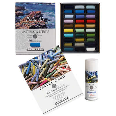 Sennelier 30 half Soft Pastels Seaside Set with a Sennelier Pastel Card – Pads 30 x 40cm and a Sennelier Soft Pastel Fixative - Latour - 400ml Aerosol Can in a art bundle