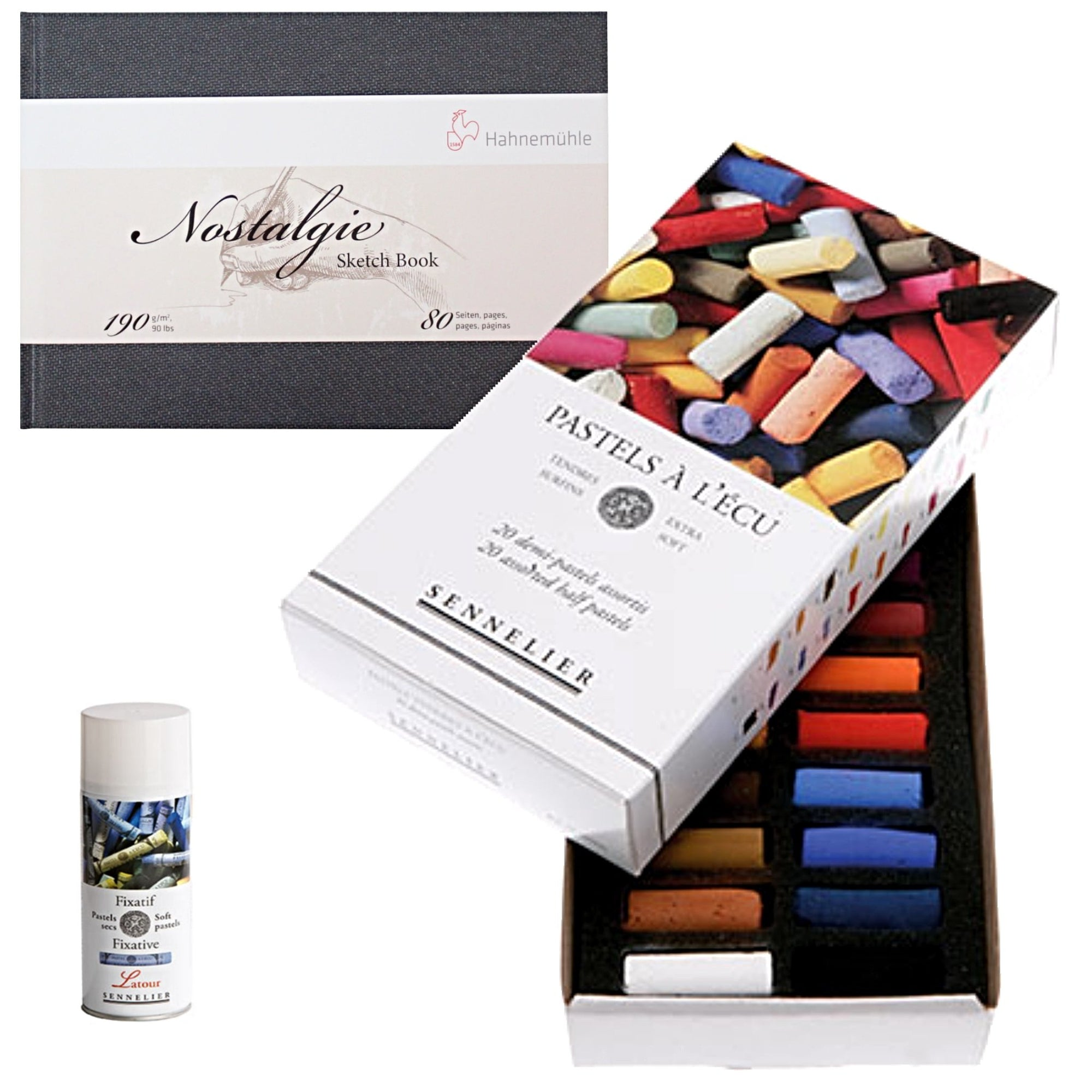 Pastel Beginner Sennelier Half Pastel Set of 20 with a Hahnemuhle Nostalgie Sketch Book - A5 Landscape and Sennelier Soft Pastel Fixative - Latour - 400ml Aerosol Can