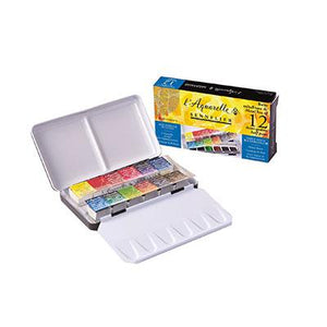 Sennelier Watercolour Set of 12 Half Pans (Pocket Size)