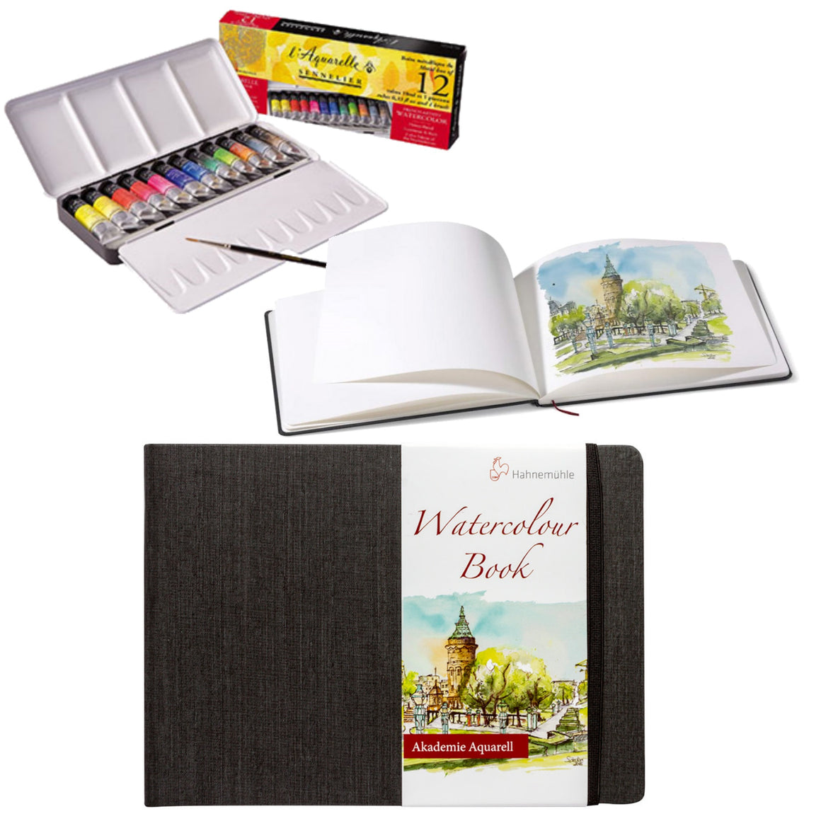 The Sennelier watercolour and Hahnemuhle book is perfect for travelling.  The set includes:  1x Sennelier Watercolour Travel Set in a metal box with 12 x 10ml tubes. 1x Hahnemuhle Watercolour Book A4 landscape