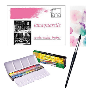 1x Sennelier 'Classic' Tin Travel Set - 14 Full Pans 1x Lana 100% Cotton Aquarelle Blocks 23 x 31cm Ho Pressed 1x Raphael Round Brush - 18